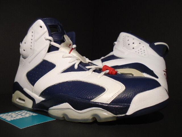 Nike Air Jordan VI 6 Retro USA OLYMPIC WHITE NAVY BLUE RED BLACK 384664-130 12