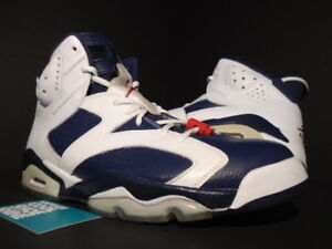 newest 5ba7a 63caf Details about Nike Air Jordan VI 6 Retro USA OLYMPIC WHITE NAVY BLUE RED  BLACK 384664-130 12