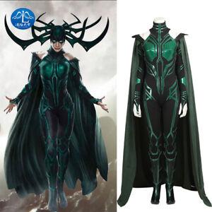 Thor 3 Ragnarok Hela Cosplay Costume Women Jumpsuit Halloween Cloak Full Set New