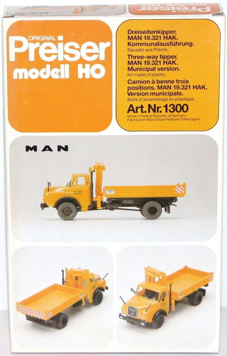 Preiser H0 1300 Tre-Laterale Ribaltabile Man 19.321 Hak Kommunalausführung -