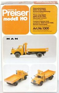 Preiser-H0-1300-Benne-trois-cote-MAN-19-321-HAK-Execution-locale