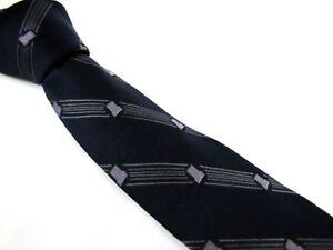 Vintage-LANVIN-Tie-LL-Monogram-in-Thin-Pinstripes-Dark-Navy-Blue-Couture-Necktie