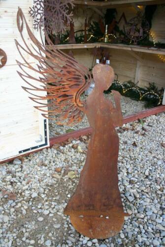 Engel groß 3D Flügel Metall Rost Weihnachten Edelrost Gartendeko Winter NEU