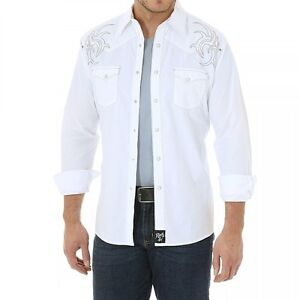 e9b40539 Image is loading WRANGLER-ROCK-47-EMBROIDERED-WESTERN-SHIRT-MENS-M-