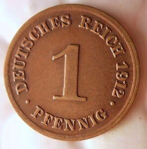 1912-D-Allemand-Empire-Pfennig-Excellent-Vintage-Piece-de-Monnaie-Poubelle
