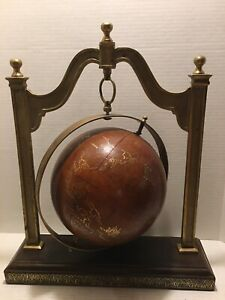 Very Decorative Leather Globe Hanging In A Brass Frame Made By Sarreid Ltd
