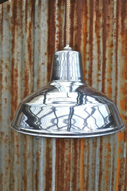 RETRO STYLE POLISHED ALUMINIUM FACTORY INDUSTRIAL HANGING LIGHT SHADE AFS1N