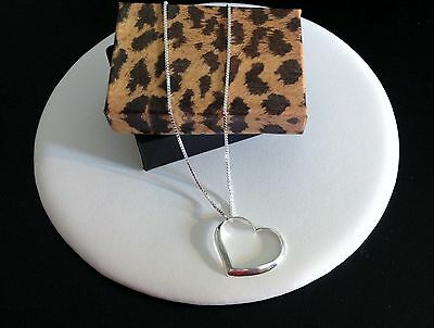 Open Heart Necklace-All Sterling Silver 925-Floating-Large Pendant-Long Chain
