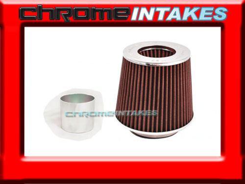 """RED UNIVERSAL 3/"""" 76mm FLANGE DRY AIR FILTER FOR DODGE AIR INTAKE+PIPE"""