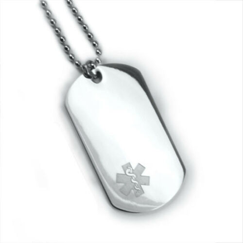 Medical Alert ID Dog Tag and Necklaces Free Wallet Card Free engraving!