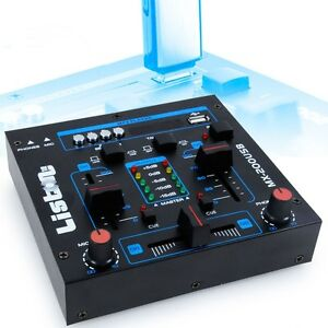 DJ-Mischpult-Party-Musik-Mixer-USB-MP3-Crossfading-Talkover-Kanalfading-12-Volt
