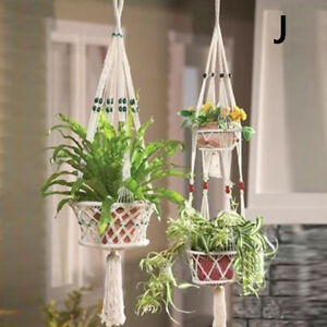 vintage macrame plant hanger garden flower pot holder legs hanging rope baskets ebay. Black Bedroom Furniture Sets. Home Design Ideas