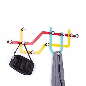 APPENDIABITI ATTACCAPANNI DA PARETE 10 GANCI SUBWAY MULTI HOOK COLOR UMBRA