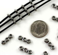 TierraCast ~ 14x5 mm ~ nugget 3 hole spacer bars ~ Anitqued Pewter