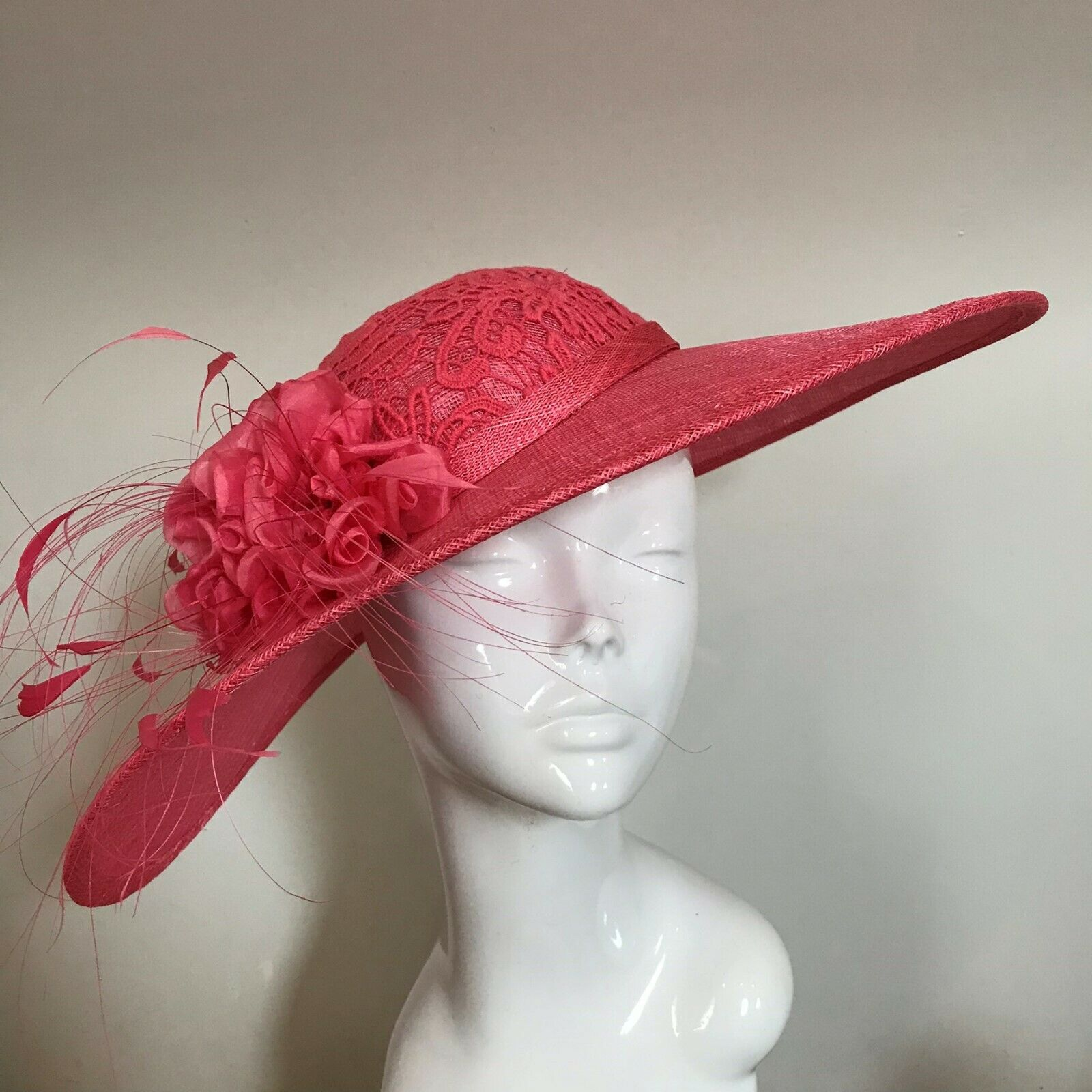 Exclusive Coral Designer Millinery by Hat Couture Wedding Bridal Race Hat