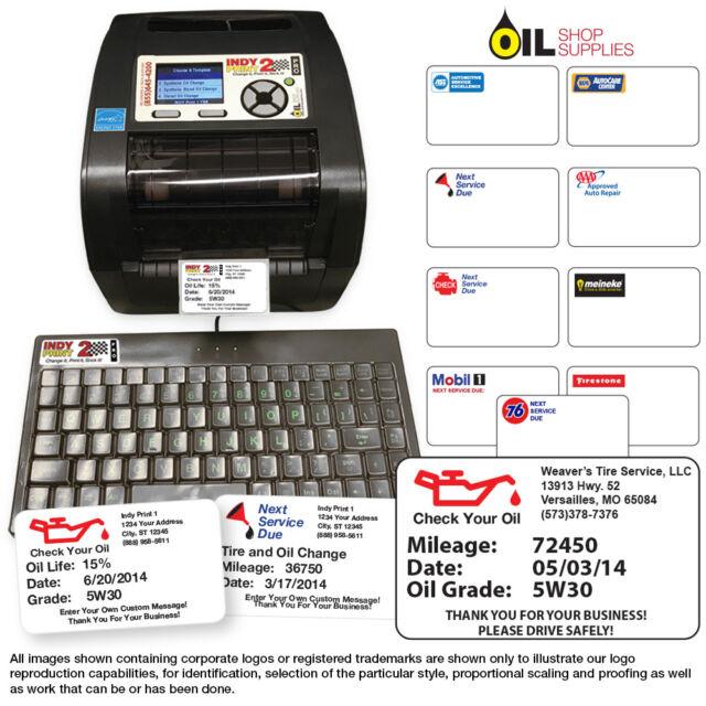 Oil Change Reminder Printer System Kit W 1000 Stickers Ink Ribbon
