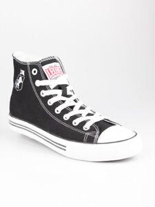Chaussures-Montantes-Noir-de-Toile-Homme