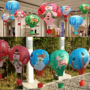 Pere-Noel-Elk-HOT-AIR-BALLOON-Papier-Lanterne-abat-jour-plafond-lumiere-de-Noel-Decoration