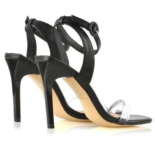 Womens Mesdames soirée Toe bal Strappy Strap Taille de Chaussures Stiletto Perspex Sandales de rYarTUqw