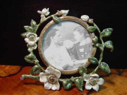Enamel Pewter CHERRY BLOSSOMS Picture Frame ~ BEAUTIFUL
