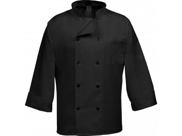 Brand New  Black Chef Coat 10 Buttons Long Sleeves Size 38 (S/M)