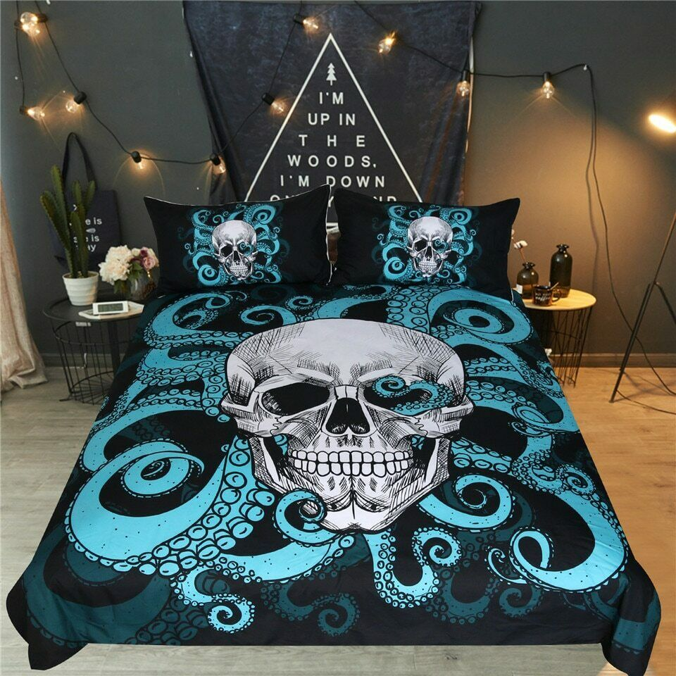 Blau Octopus Skull Tentacles Double Single Quilt Duvet Pillow Cover Bed Set