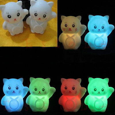 Colors Changing LED Lamp Xmas Party Decoration Romantic Lucky Cat Night Light