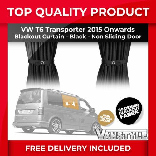 VW T6 2015/> TAILORED BLACKOUT 80 DENIER FABRIC NON SLIDING DOOR CURTAIN IN BLACK