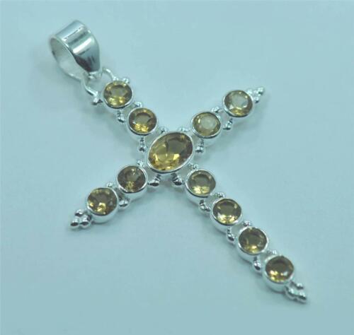 Véritable Jaune Citrine nov Pierre de Naissance Argent Sterling 925 pendentif croix M6122
