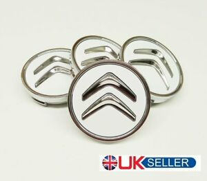 4-X-CITROEN-60mm-ALLOY-WHEELS-CENTRE-HUB-CAPS-WHITE-Fit-MOST