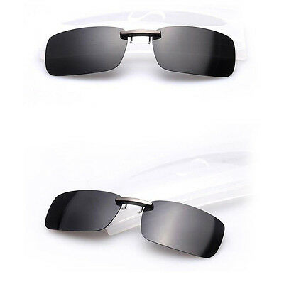 UV400 Polarized Sunglasses Clip On Flip-up Driving Glasses Day Night Vision Lens