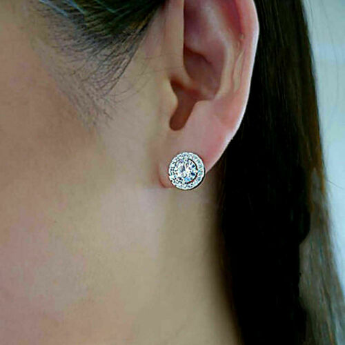 Details about  /Elegant 10k White Gold Finish 1.00Ct Stud Earrings For Women 925 Sterling Silver