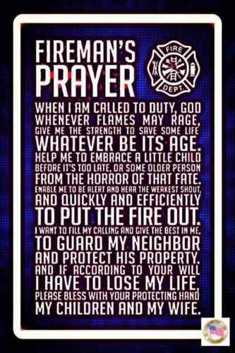 FIREMAN PRAYER MADE IN USA METAL SIGN 8X12 MAN CAVE FIRE STATION GIFT DECOR