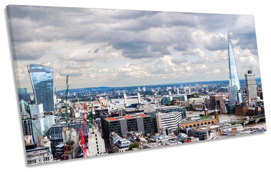 Skyline London Stadt PANORAMIC CANVAS Wand Kunst Box Frame