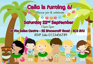 Details About Children Personalised Hula Hawaii Beach Summer Birthday Party Invitations X 10