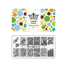 PUEEN Nail Art Stamping Plate - Animal Safari 01 - Theme Park Collection 125x65m