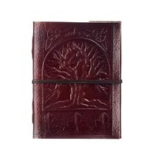 Tree of Life Leather Journal, 125 Unlined Recycled Paper Pages Notebook Diary