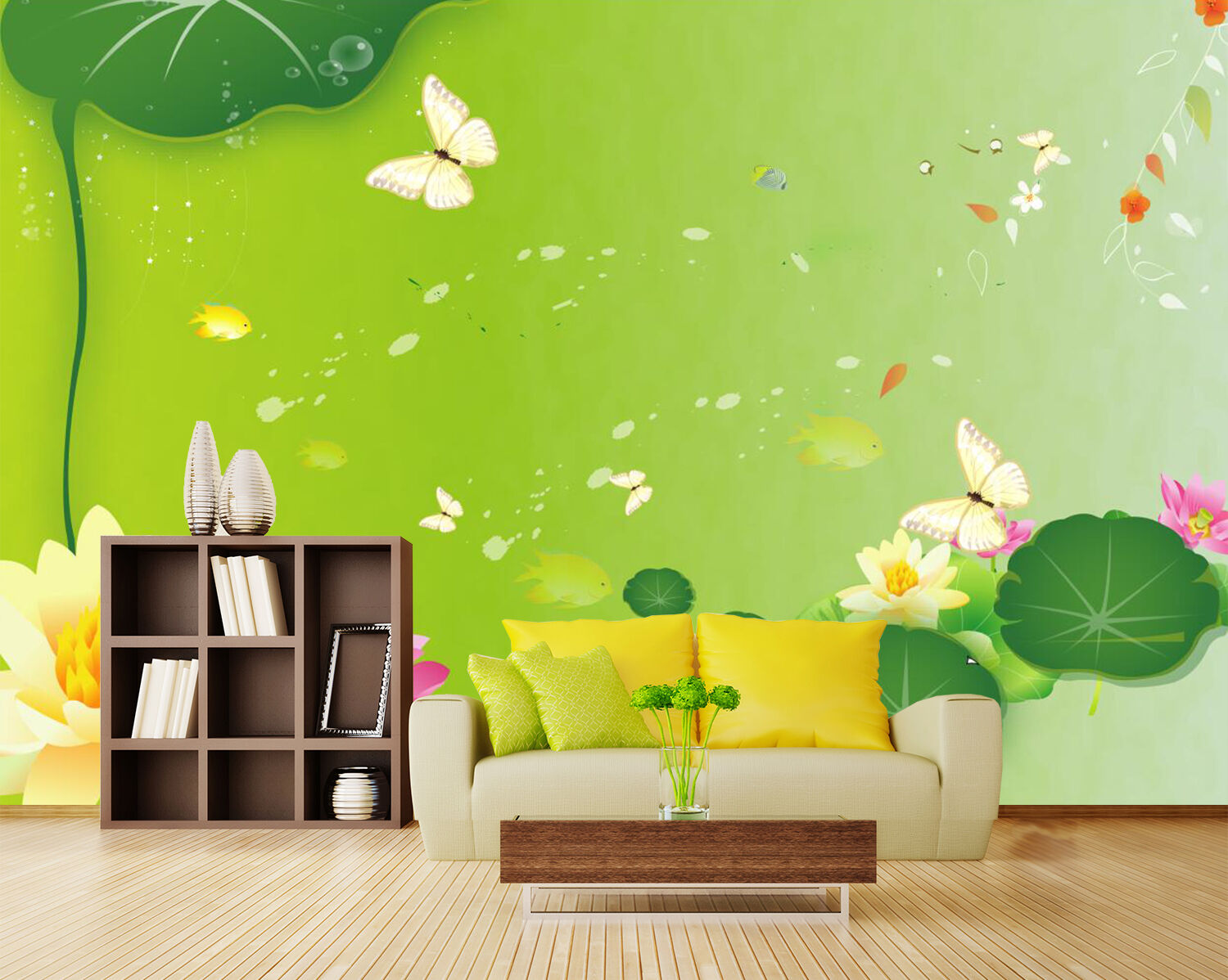 3D 3D 3D Lotus Pond Butterfly 5530 Wall Paper Wall Print Decal Wall AJ WALLPAPER CA 6b87f3