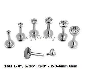 Rational 1pc. 16g ~ 0.6cm,0.8cm,1cm Stahl Internallythreaded Labret Cz Cartilage Tragus Eine Hohe Bewunderung Gewinnen
