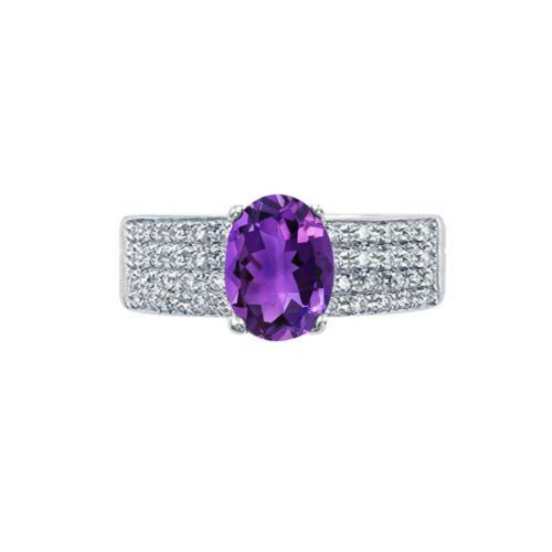 Amethyst /& White Topaz Ring 14K White Gold Over Solid Sterling Silver Band