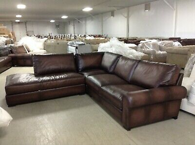 Pottery Barn Turner Leather Sofa Sectional 3 pc burnt walnut love corner  bumper | eBay