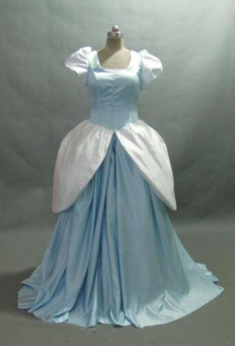 Disney Dress Cinderella blue//white satin Costume adult SIZE 6,8,10,12,14,16