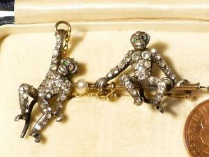 Antique-Victorian-Silver-amp-Gold-Paste-Stone-Double-Monkey-Chimpanzee-Brooch
