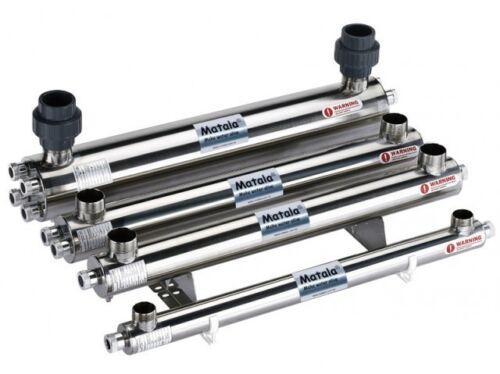 "Matala Stainless Steel UV Clarifier 150 Watt pond sterilizer 2/"" Inlet//Outlet"