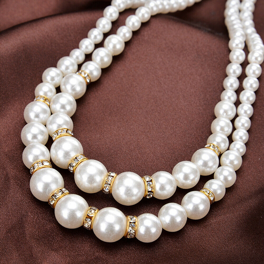 HK- Women Faux Pearl Beads Rhinestone Inlaid Double Layer Necklace Jewelry Serap Fashion Jewelry