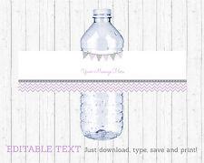 Purple & Grey Chevron Water Bottle Labels Printable Editable PDF