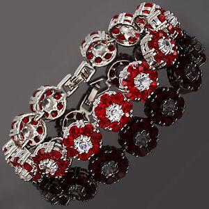 Xmas-Rhinestone-Round-Cut-Flower-Red-Ruby-Tennis-Statement-Fashion-Bracelet