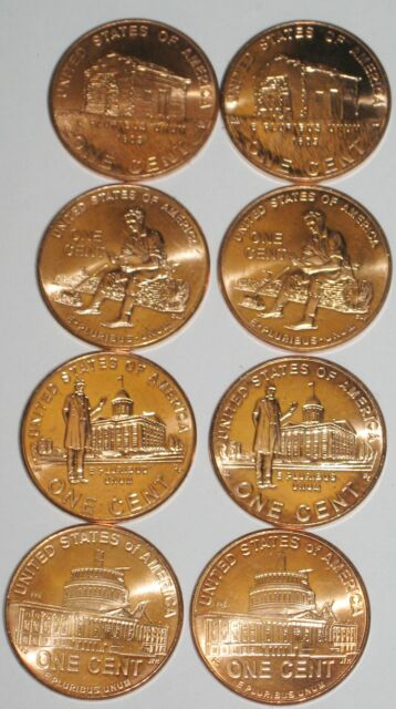 Complete Collection of All Eight GEM BU 2009 P D Lincoln Cents From Mint Rolls