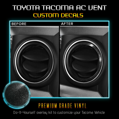 Glossy Matte Decal ALL AC Vent Ring Sticker Kit Fit 2016-2019 Toyota Tacoma