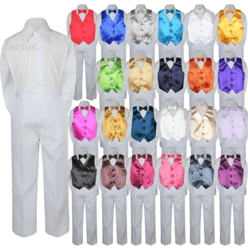 23 Color 4pc Boys Suits Vest Bow Tie Set Baby Toddler Kid Formal White Pants S-7